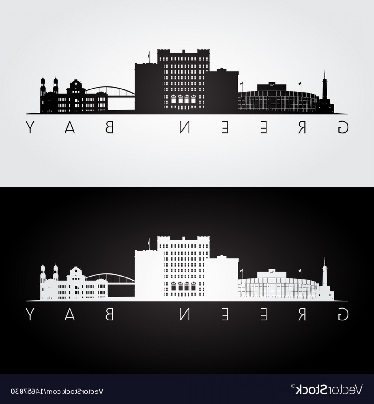 Green Bay Vector: Green Bay Usa Skyline And Landmarks Silhouette Vector
