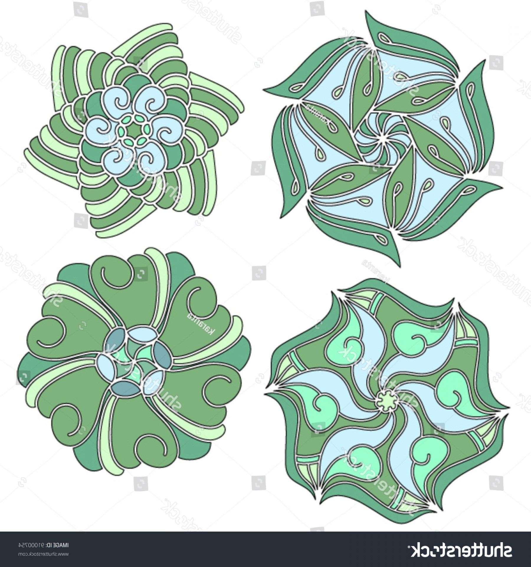 Vector Ornament Sets: Green Blue Vector Ornament Collection