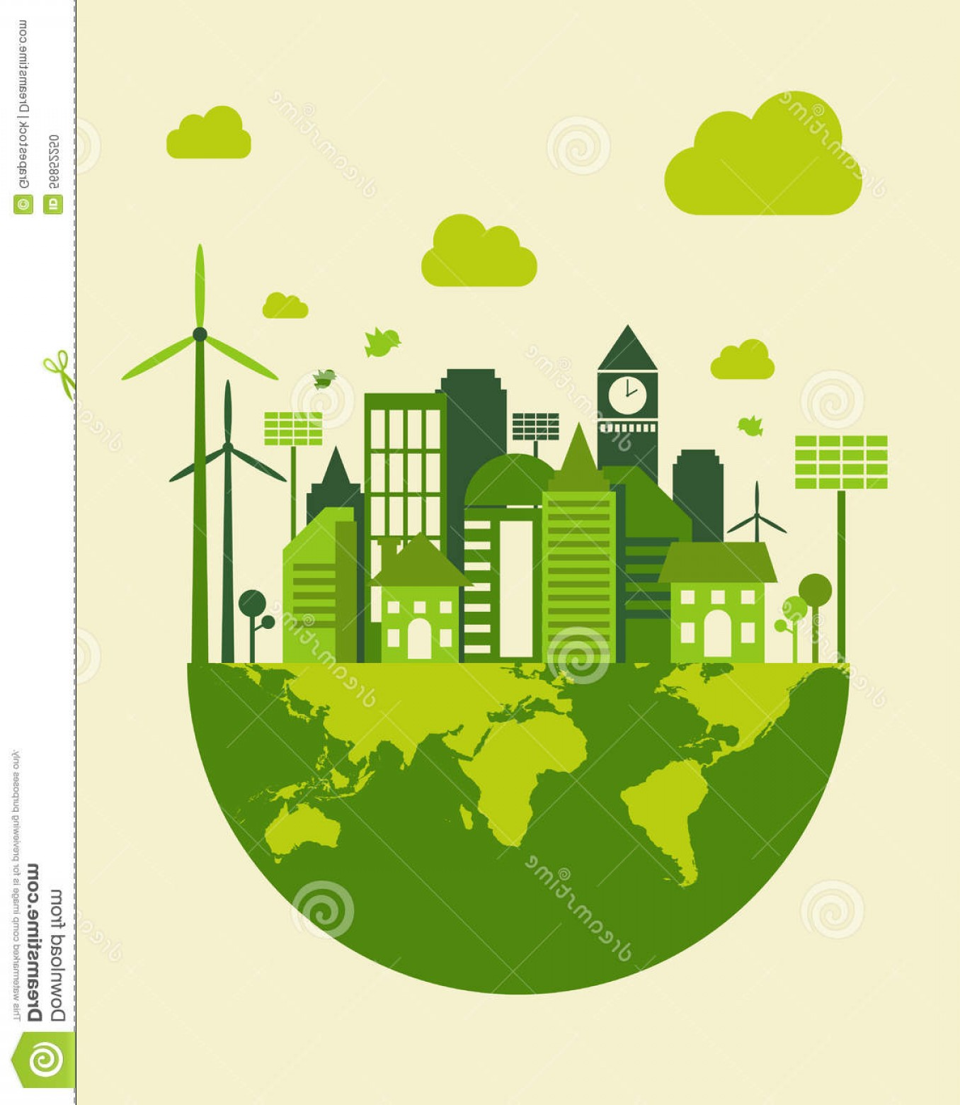 City Building Vector Free Download: Green City Building Save Earth Concept Vector Illustration