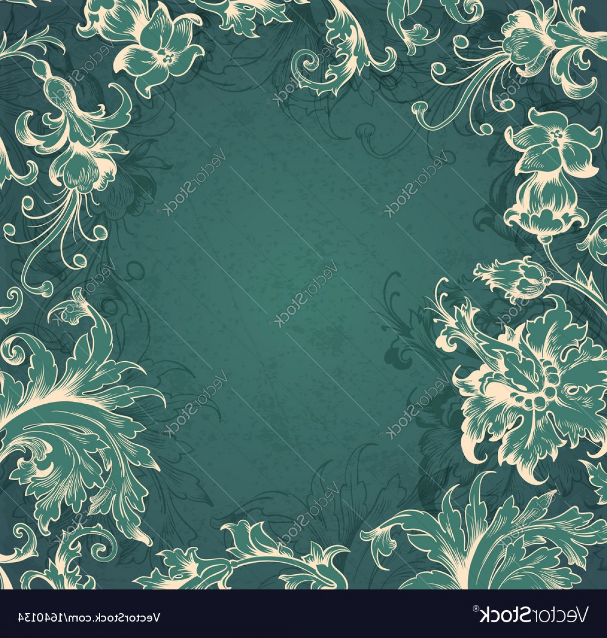Aqua Victorian Vectors: Green Floral Victorian Background Vector
