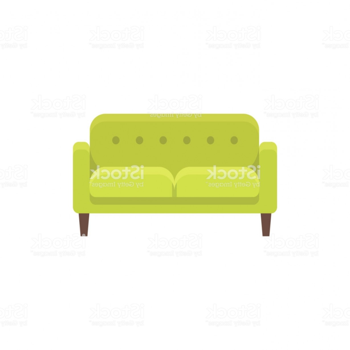 Back Of The Couch Vector: Green Loveseat Double Sofa Vector Illustration Flat Icon Of Settee Front View Gm