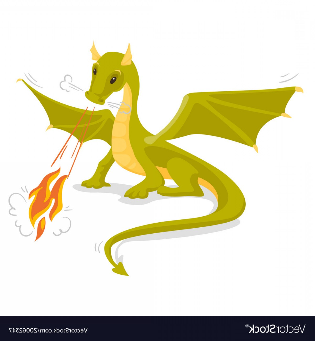 Dragon Fire Vector: Green Magical Dragon Breathing Fire Vector