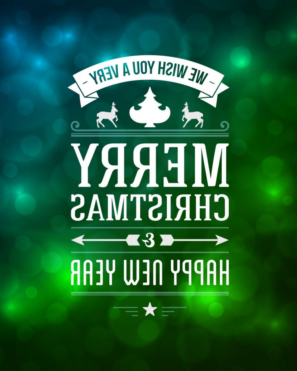 Merry Christmas Vector Graphic: Green Merry Christmas And Happy New Year Vector