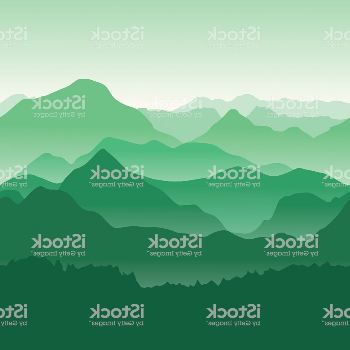 Appalachia Vector: Green Mountains In The Fog Seamless Background Gm