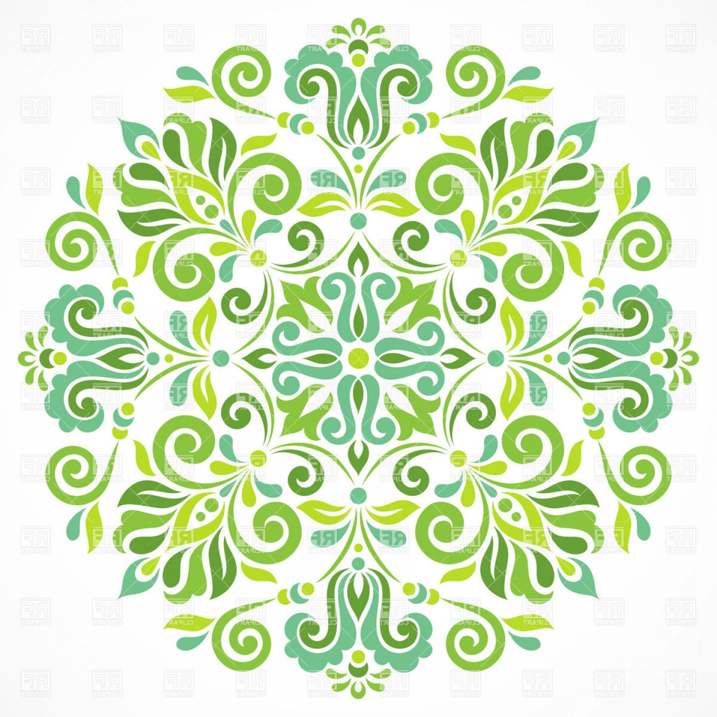 Free EPS Vector Art: Green Round Graphic Ornament Vector Clipart