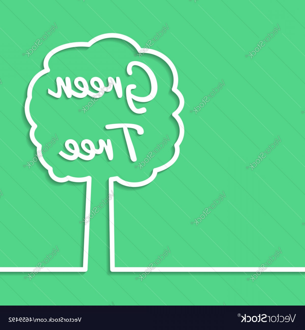 Tree Abstract Line Art And Vector: Green Tree Abstract Line Art Simple Poster Design Vector
