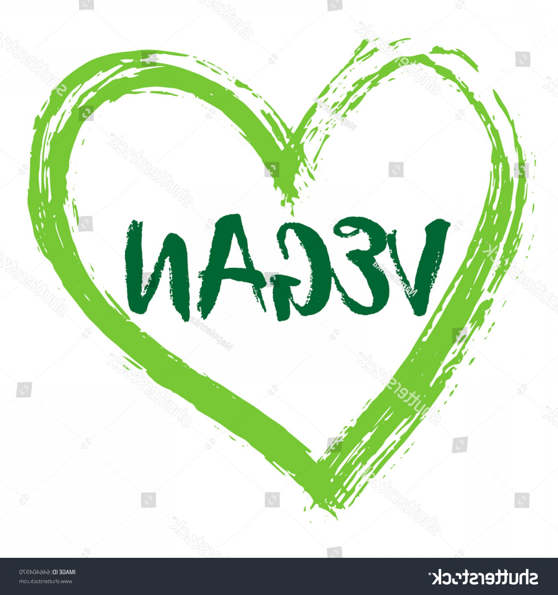 Vegan Heart Vectors: Green Vector Vegan Heart Logo Healthy