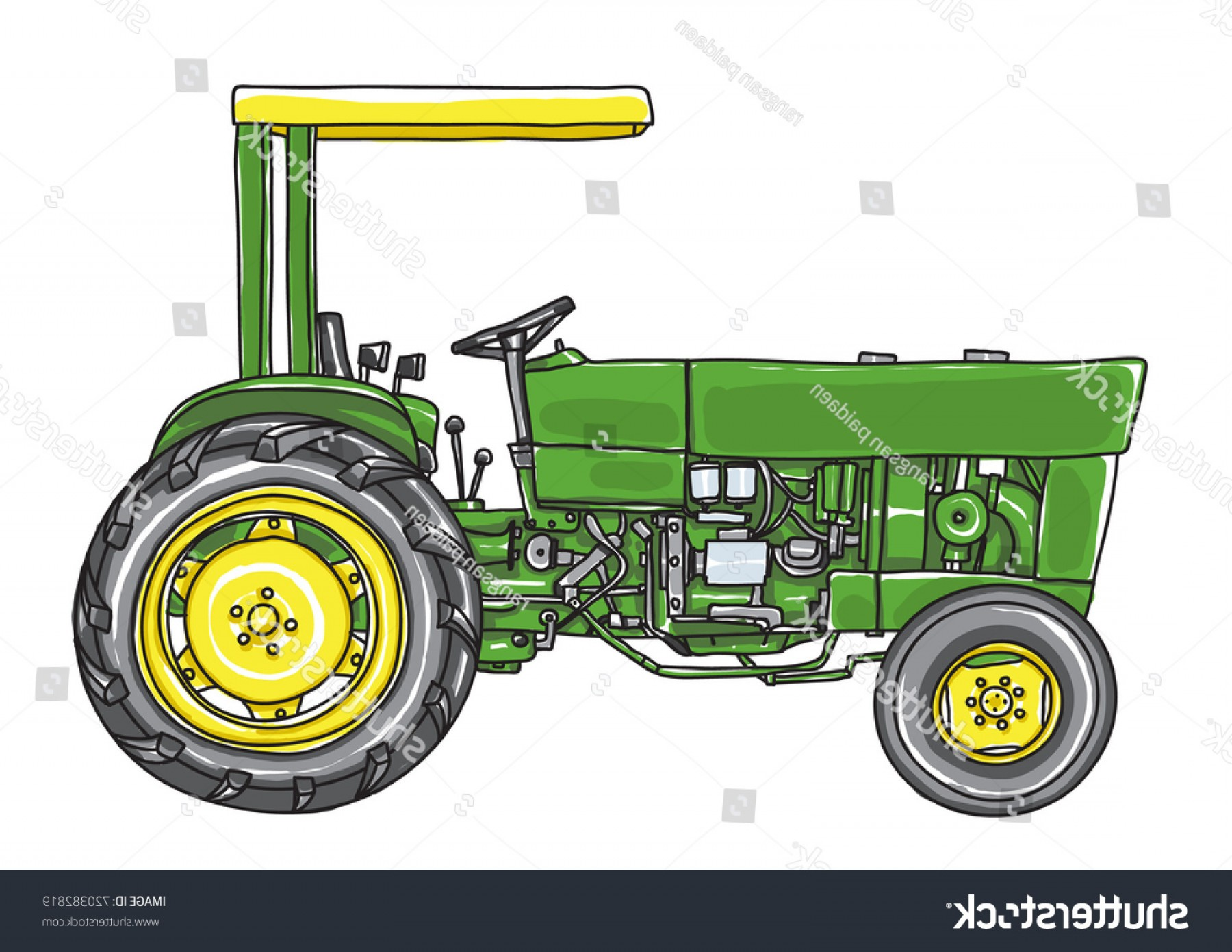 Vintage Tractor Vector Art: Green Vintage Tractor Hand Drawn Cute