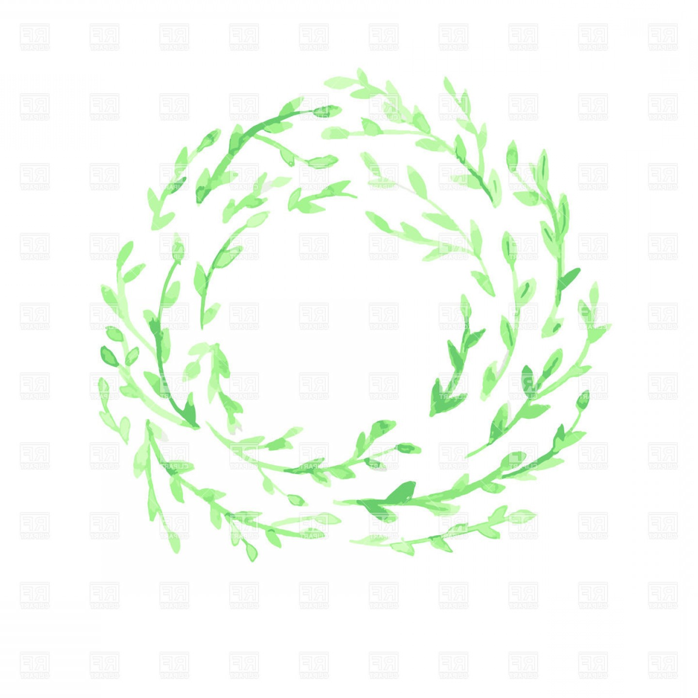 Watercolor Vector Background Free: Green Watercolor Leaf Wreath On White Background Vector Clipart