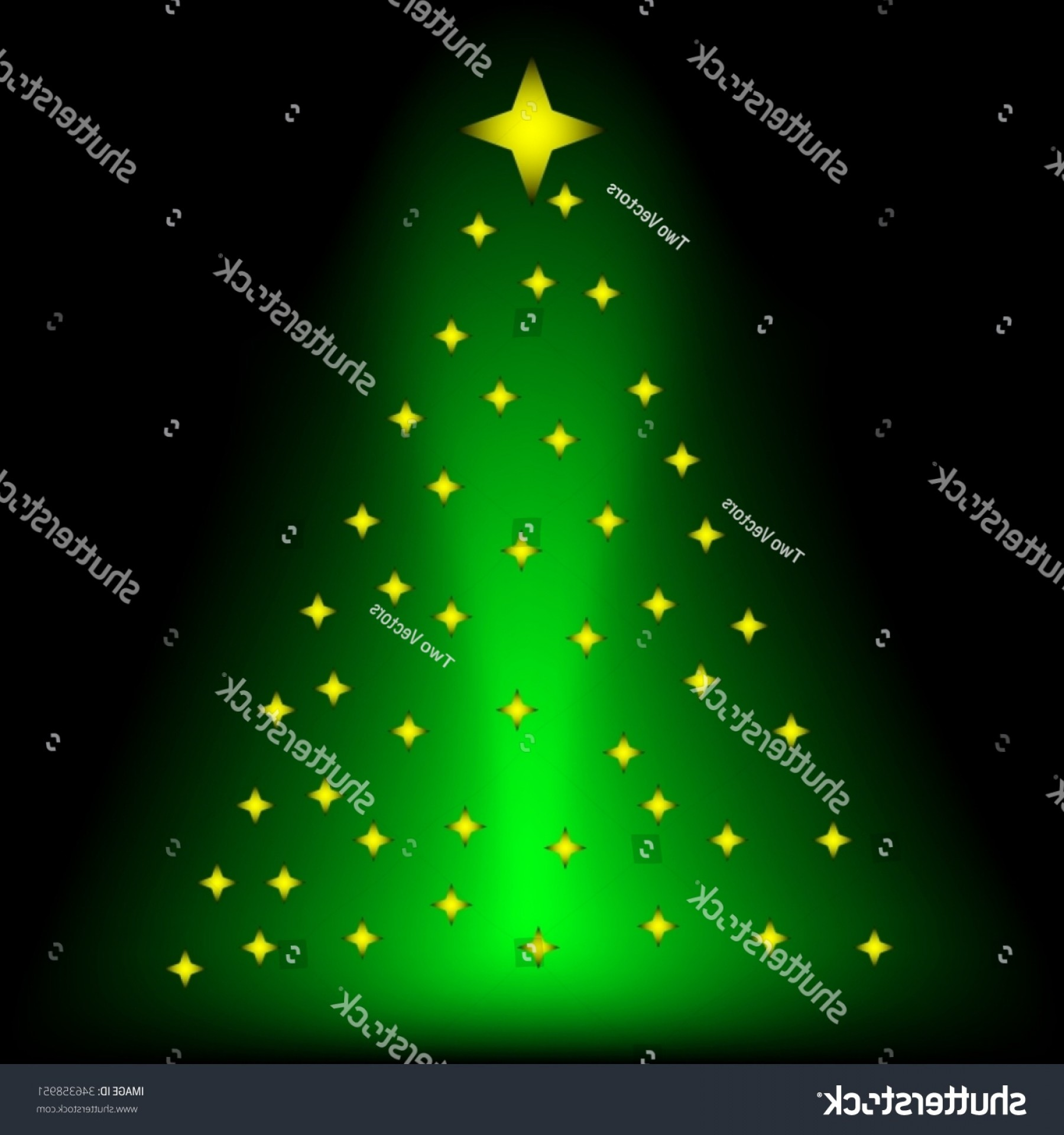 Stars Yellow Christmas Vector: Green Xmas Tree Yellow Stars Merry