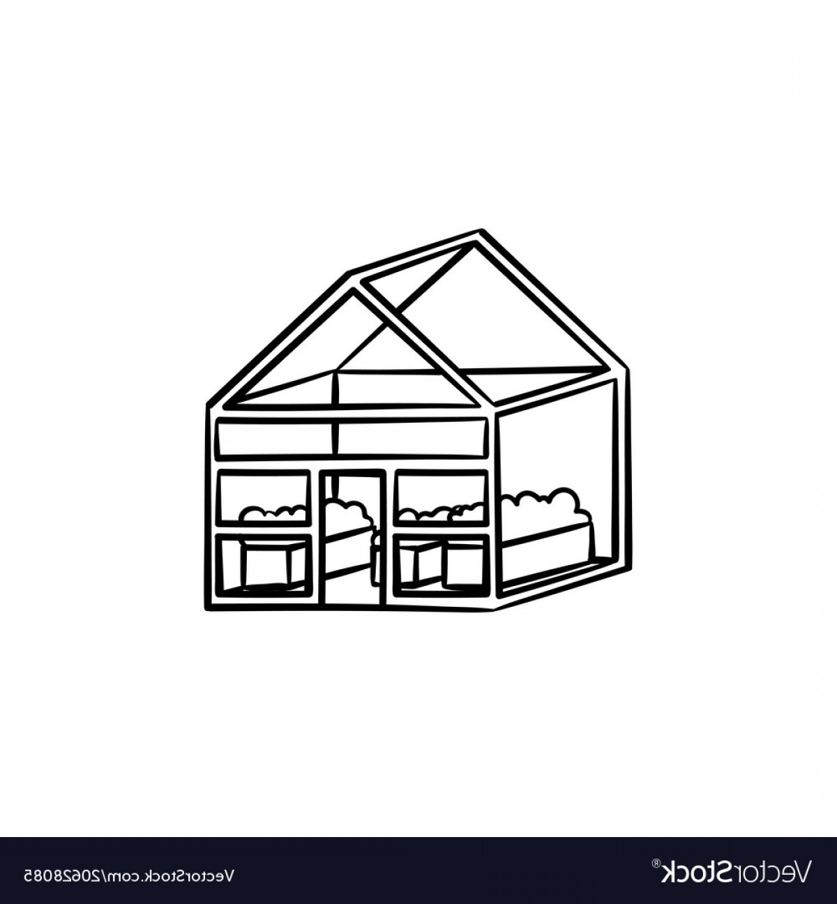 Black And White Vector Greenhouse: Greenhouse Hand Drawn Sketch Icon Vector