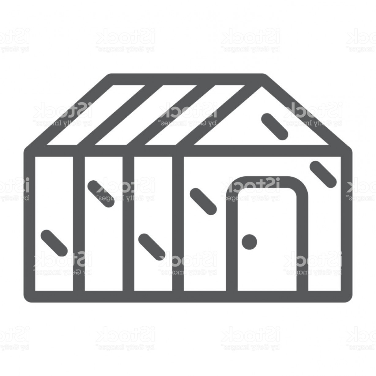 Black And White Vector Greenhouse: Greenhouse Line Icon Garden And Farm Glasshouse Sign Vector Graphics A Linear Gm