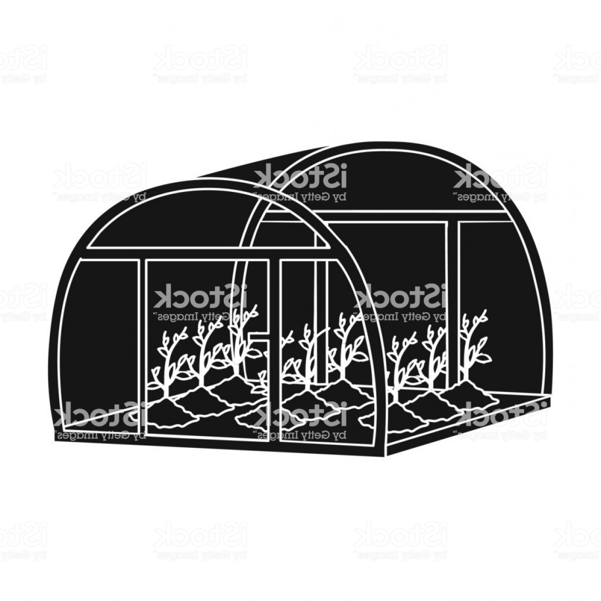 Black And White Vector Greenhouse: Greenhouse Single Icon In Black Style Greenhouse Vector Symbol Stock Illustration Web Gm