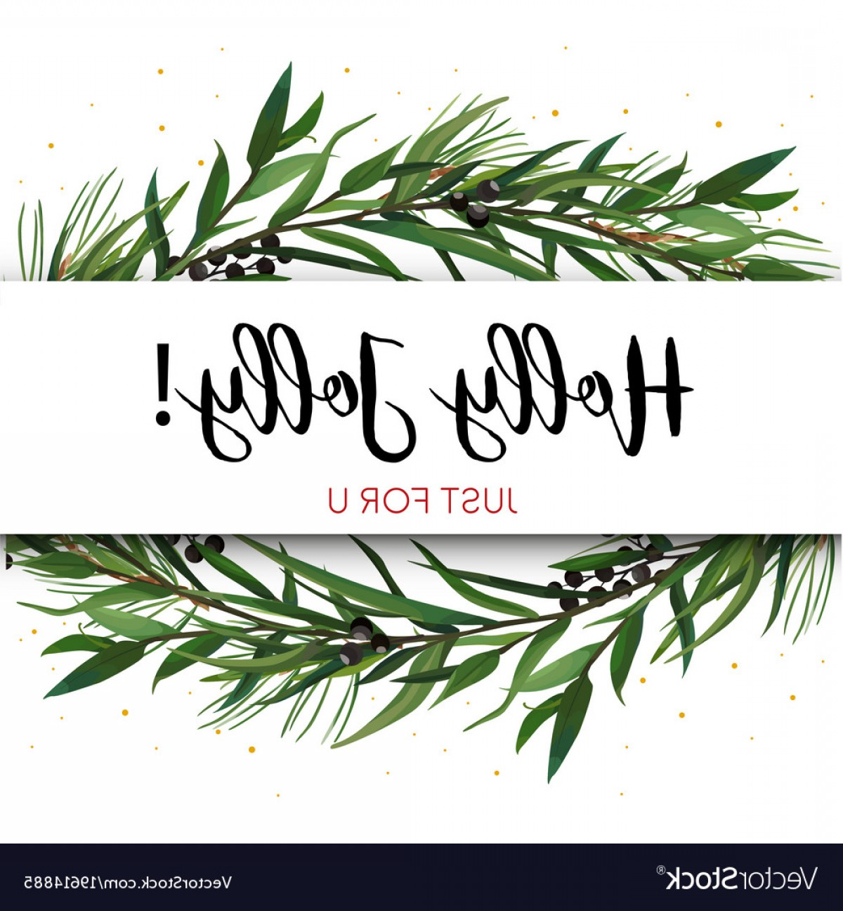 Pine Leaf Vector: Greeting Card Invite With Pine Tree Greenery Vector
