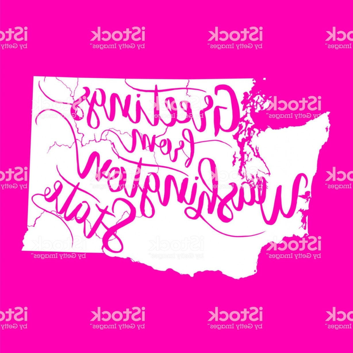 Washington State Map Vector: Greetings From Washington State Eps Vector Map Gm