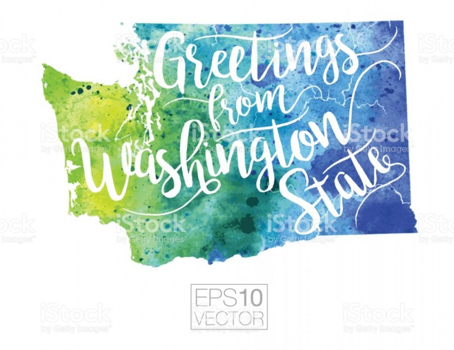 Washington State Map Vector: Greetings From Washington State Vector Watercolor Map Gm