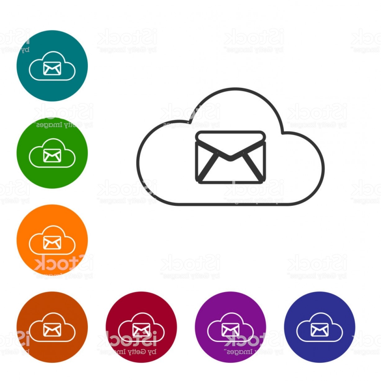 Vector Email Server: Grey Cloud Mail Server Line Icon Isolated On White Background Cloud Server Hosting Gm