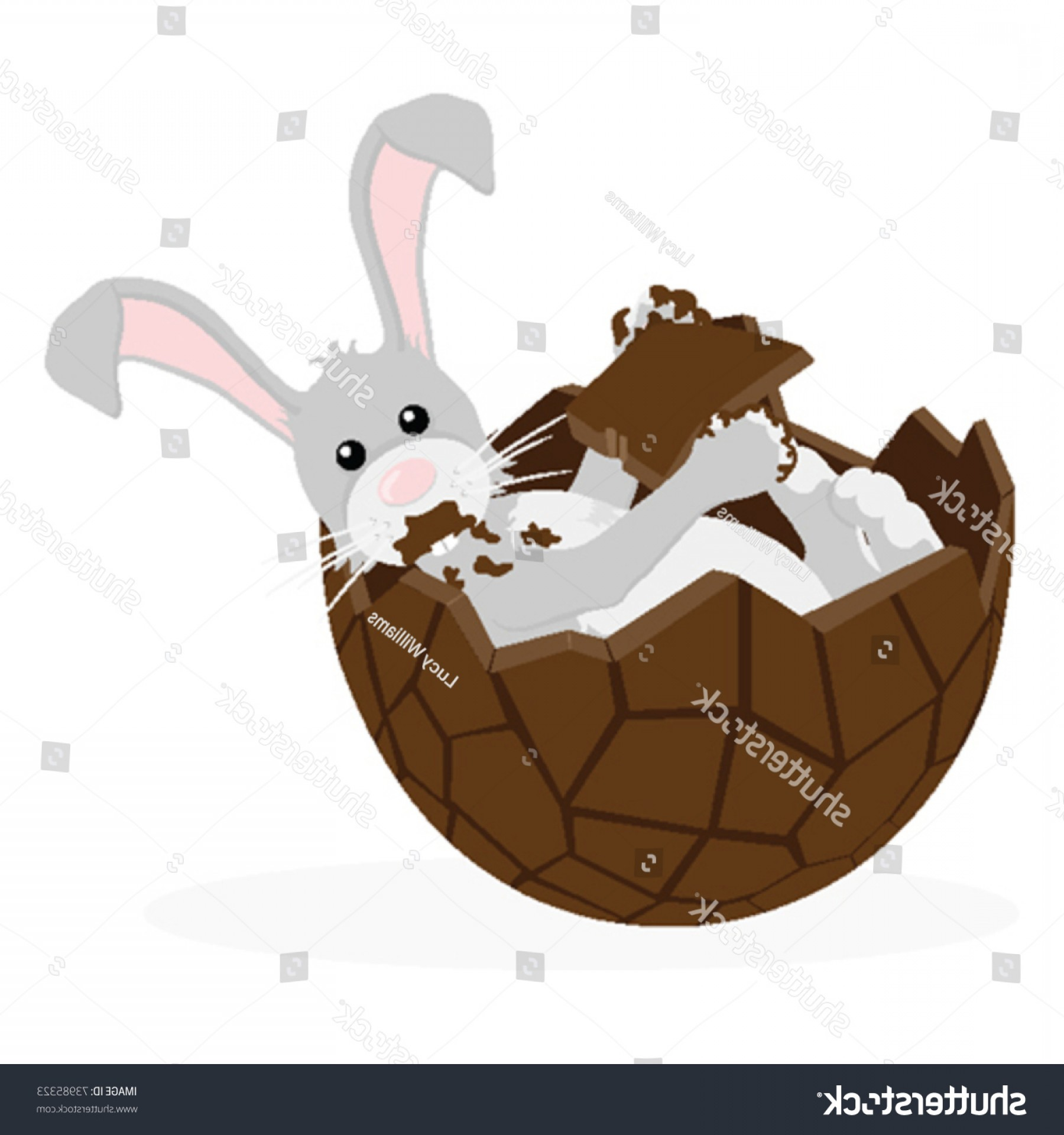 Chocolate Bunny Vector: Grey Easter Bunny Laying Half Chocolate