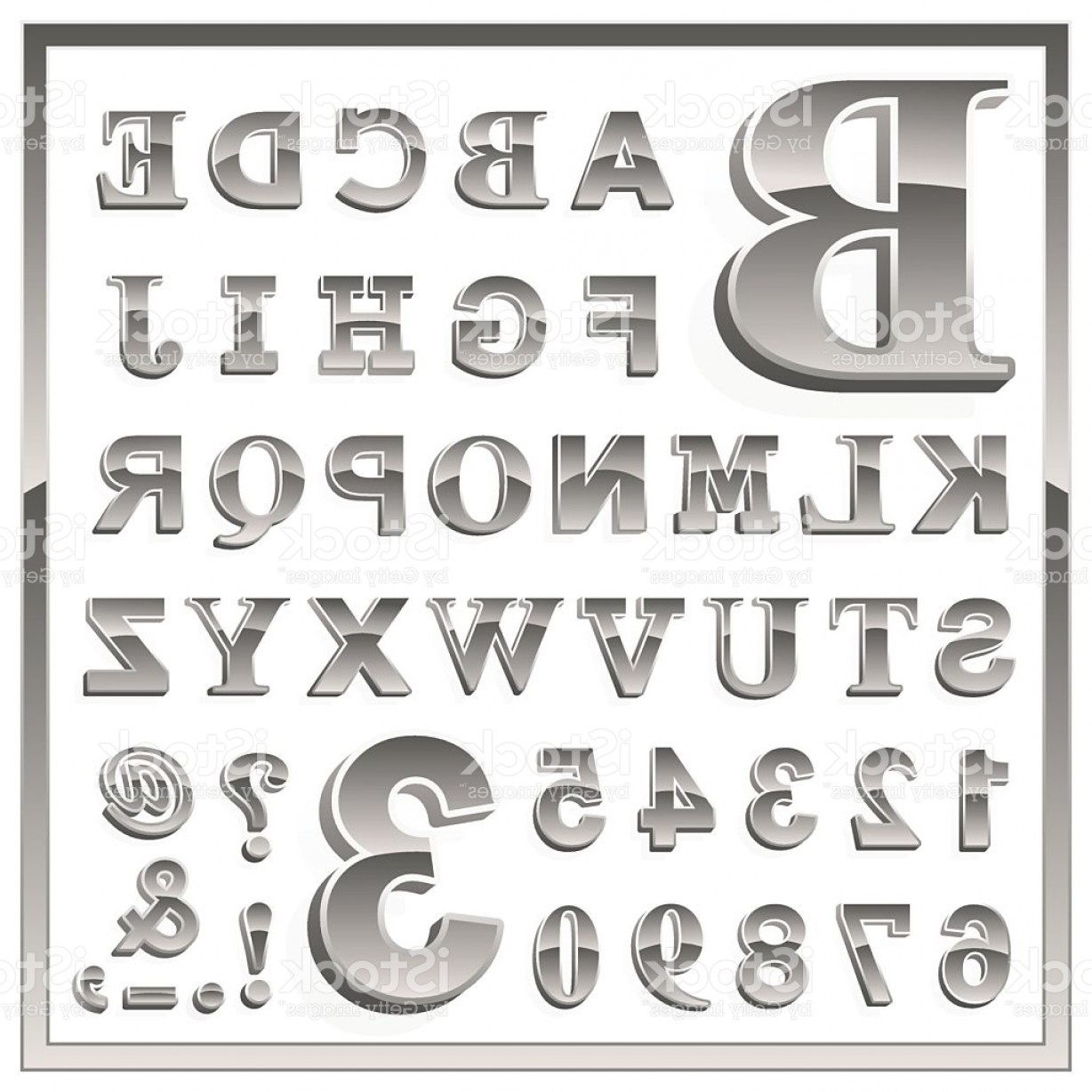 Alphabet Letters Vector Art: Greyscale Metallic Numerals And Alphabet Letters Gm