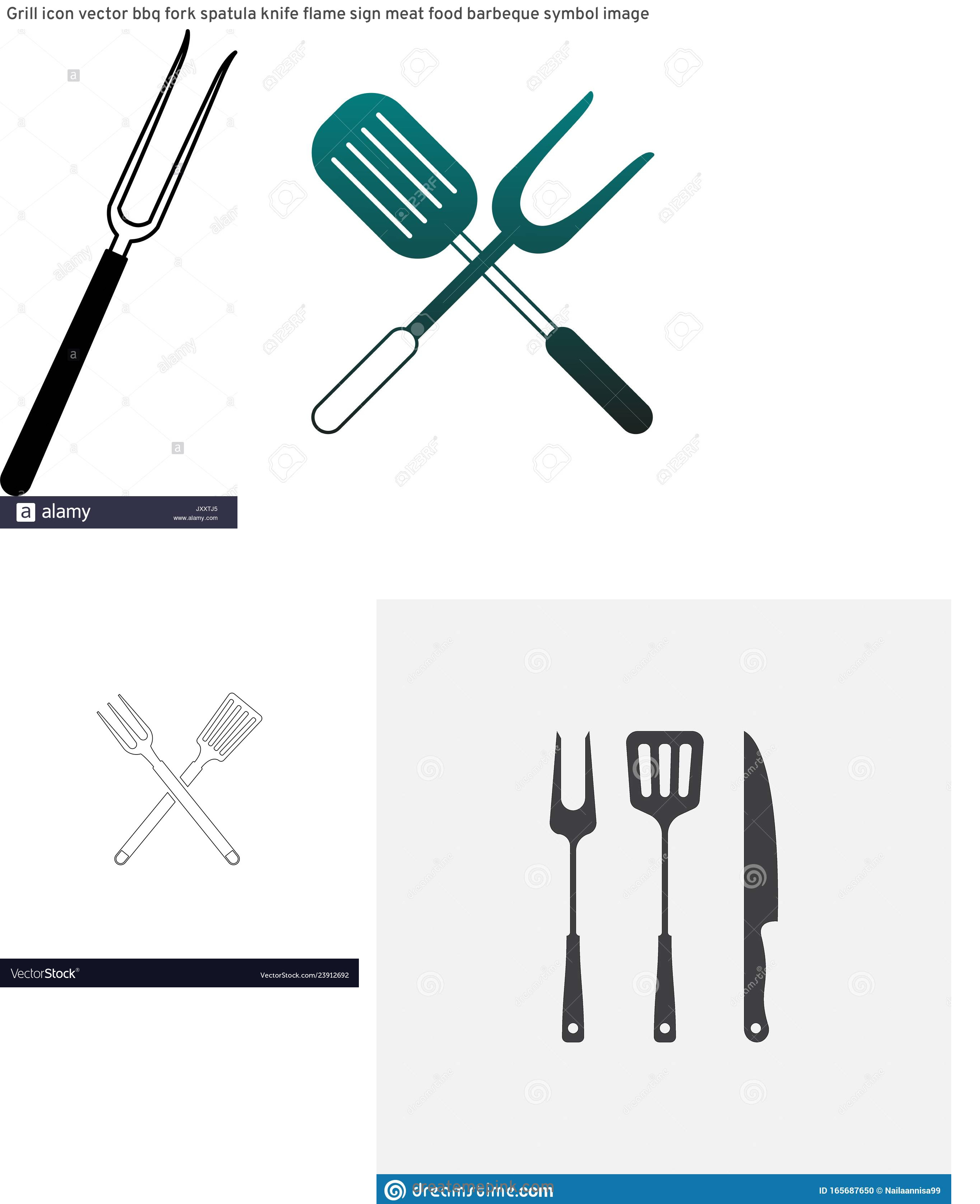 BBQ Fork Vector: Grill Icon Vector Bbq Fork Spatula Knife Flame Sign Meat Food Barbeque Symbol Image