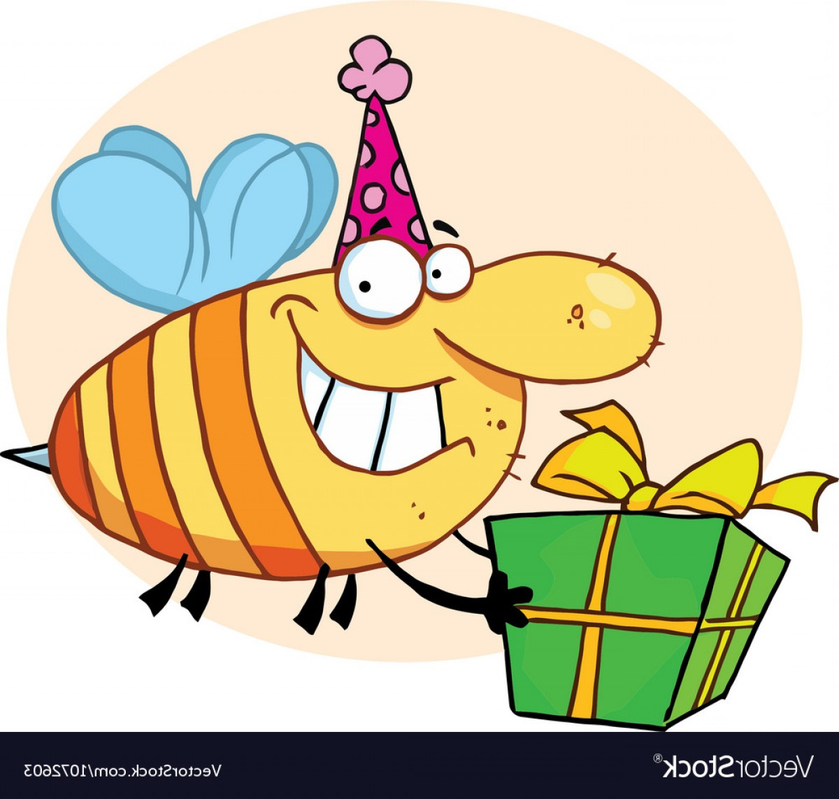 Bee Stinger Back Vector Art: Grinning Bumbe Bee With A Stinger Vector