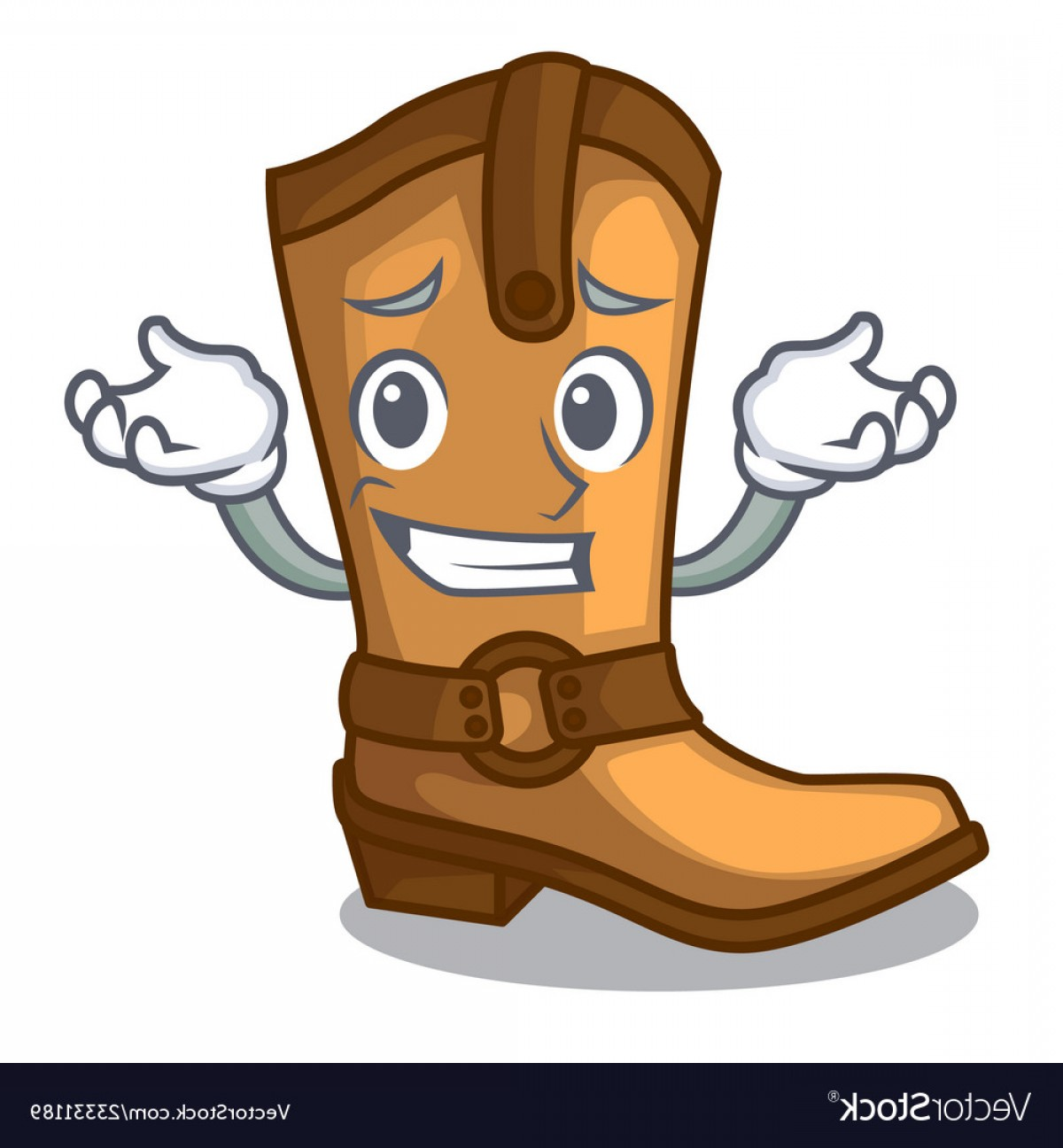 Two Cowgirl Boots Vector: Grinning Cowboy Boots Isolated In The Mascot Vector