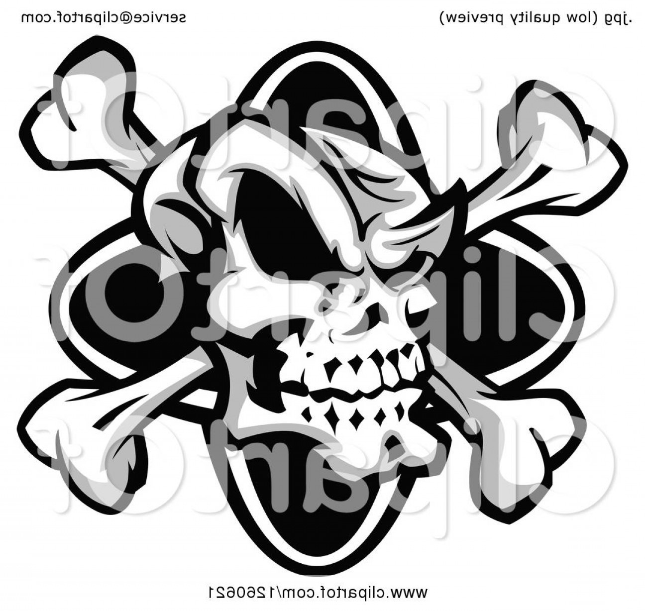 Skull ND Crossbones Vector: Grinning Grayscale Skull And Crossbones