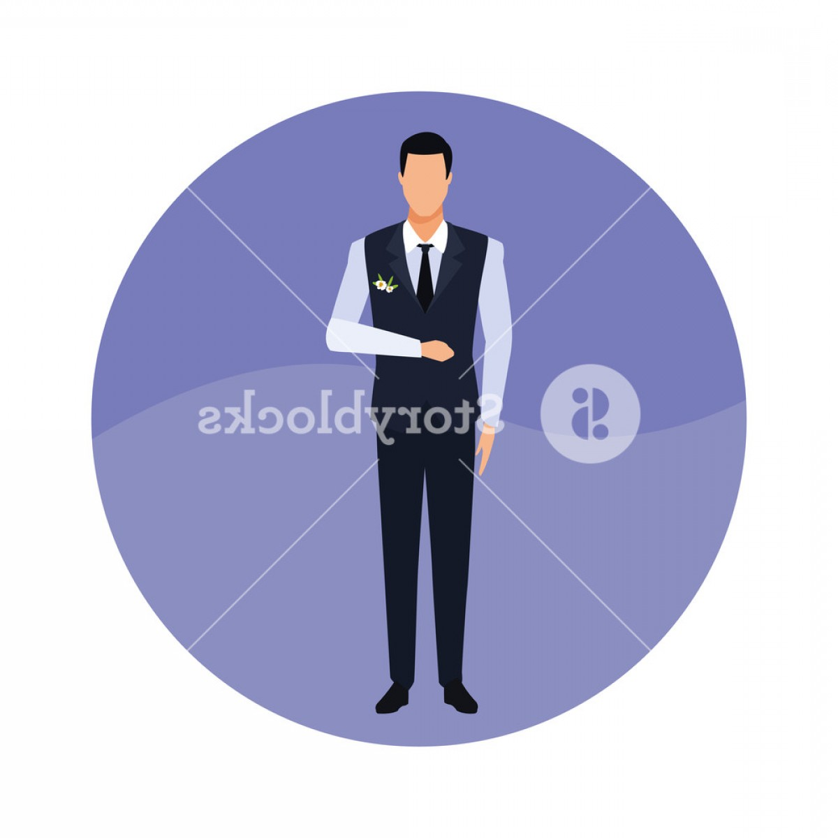 Gas Mask Suit And Tie Vector: Groom Kind Of Suit With Tie And Waistcoat Round Icon Vector Illustration Graphic Design Bgllkmjpkdry