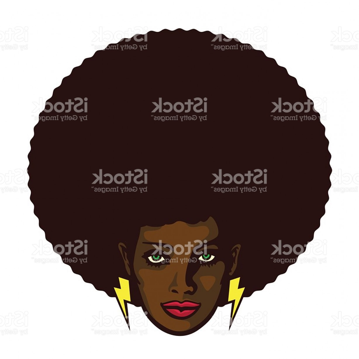Black Woman Stock Vector: Groovy Cool Black Woman Face With Afro Hair Vector Illustration Gm
