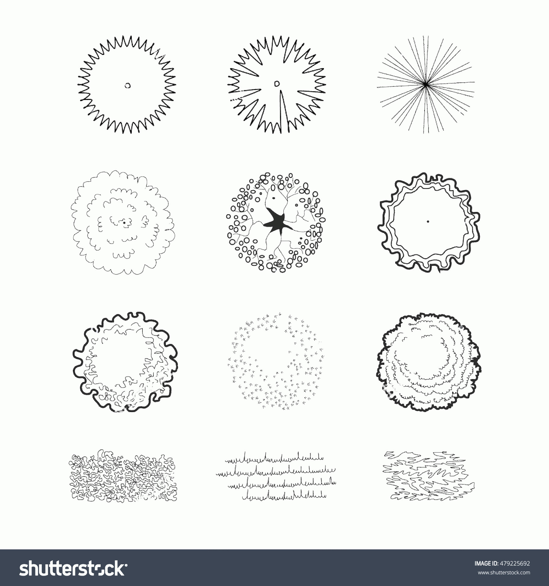 Vector Tree Symbols Plan: Ground Covers Trees Set Top View