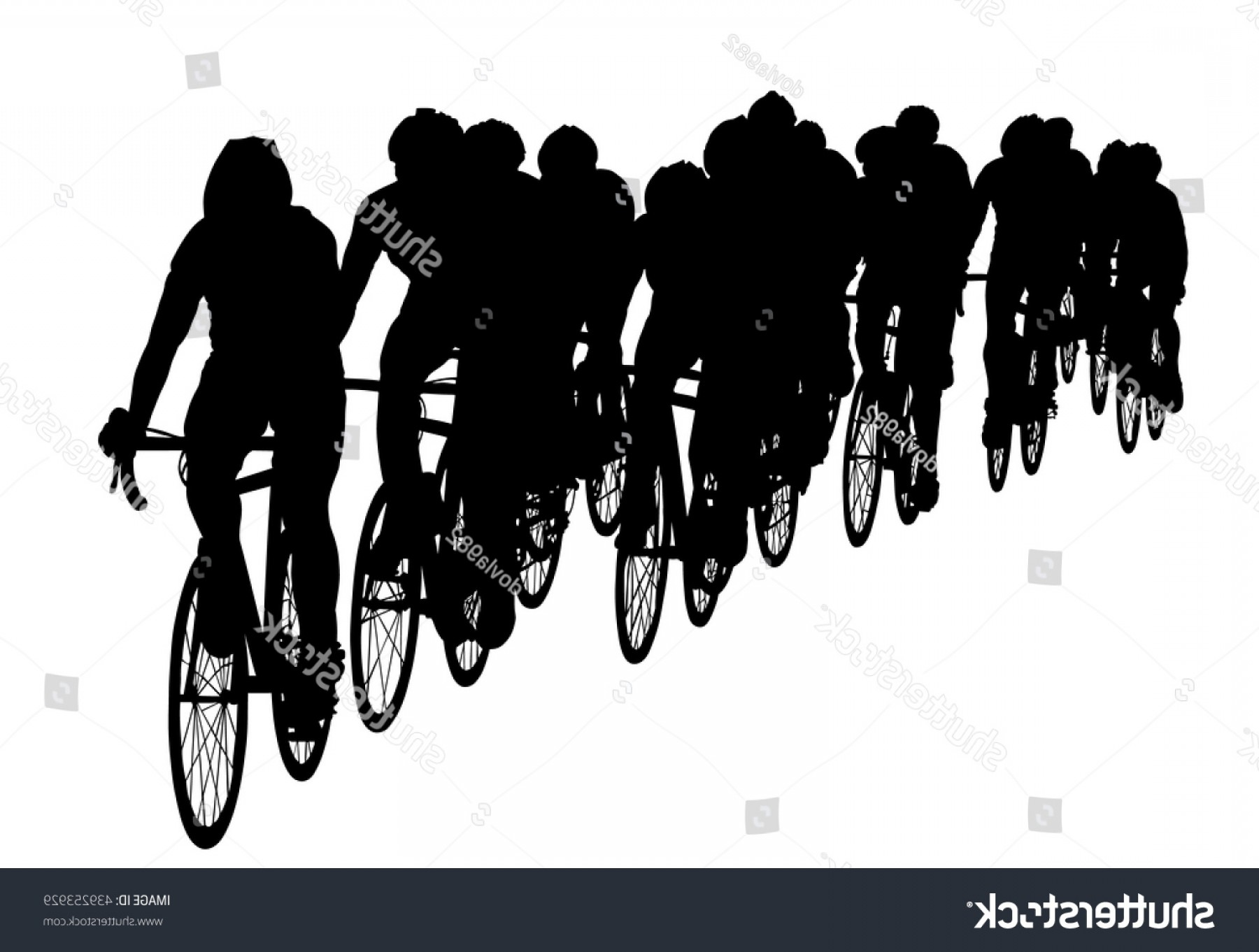 Sillouhette Vector Group: Group Bicyclists Race Riding Bicycle Isolated
