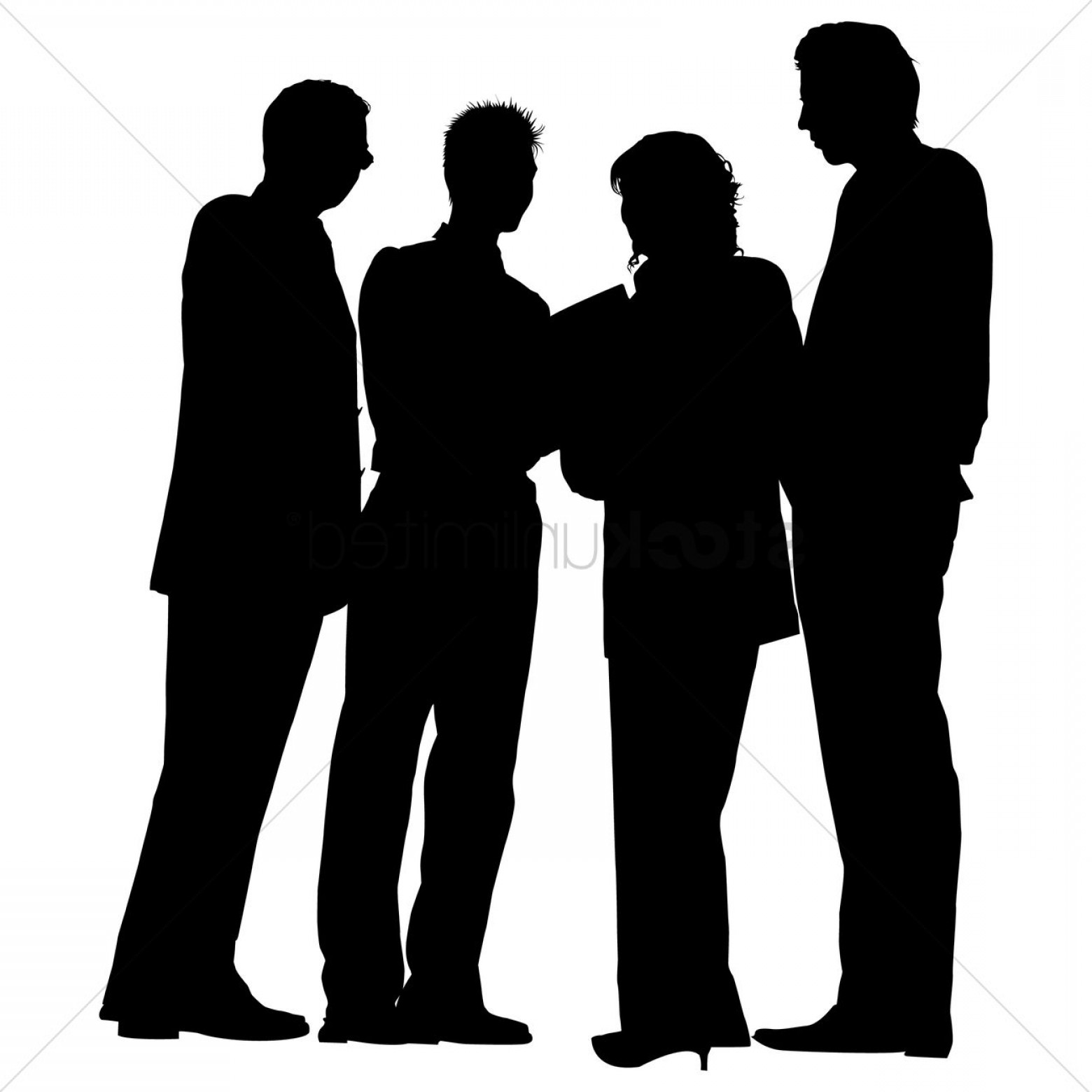 Sillouhette Vector Group: Group Of Business People Standing Silhouette