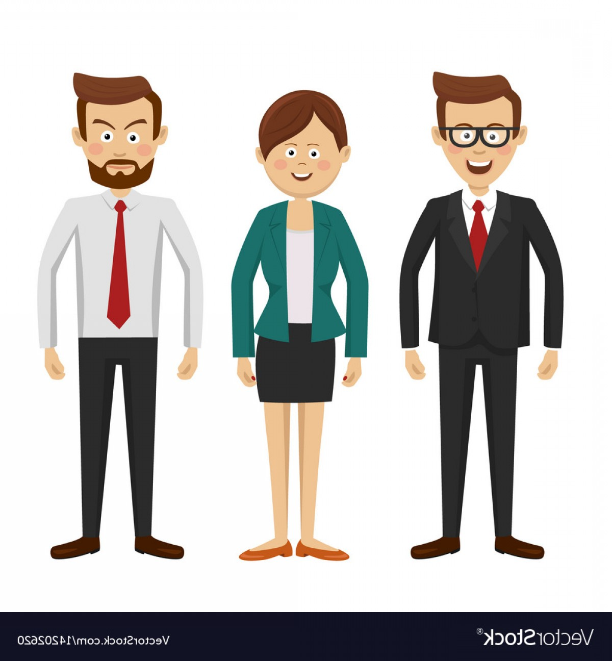 People Standing Vector: Group Of Business People Standing Vector