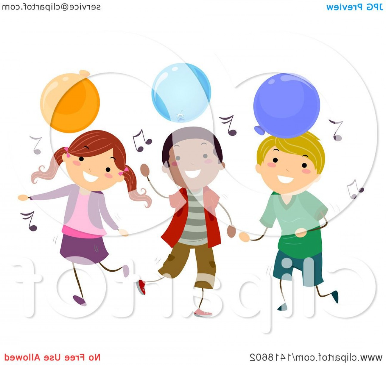 Dancing Musical Notes Vector: Group Of Children Dancing With Music Notes And Party Balloons