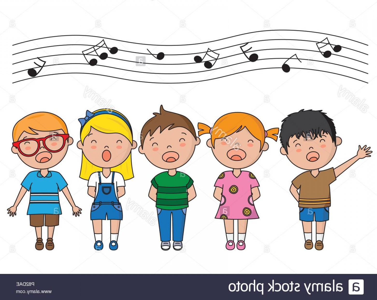 Singers Vector Art: Group Of Children Singing Vector Isolated Image