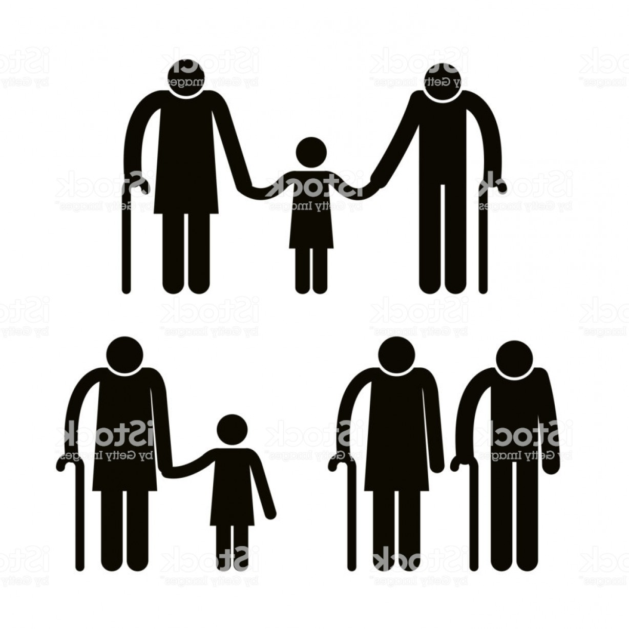 Sillouhette Vector Group: Group Of Family Members Avatars Silhouettes Gm