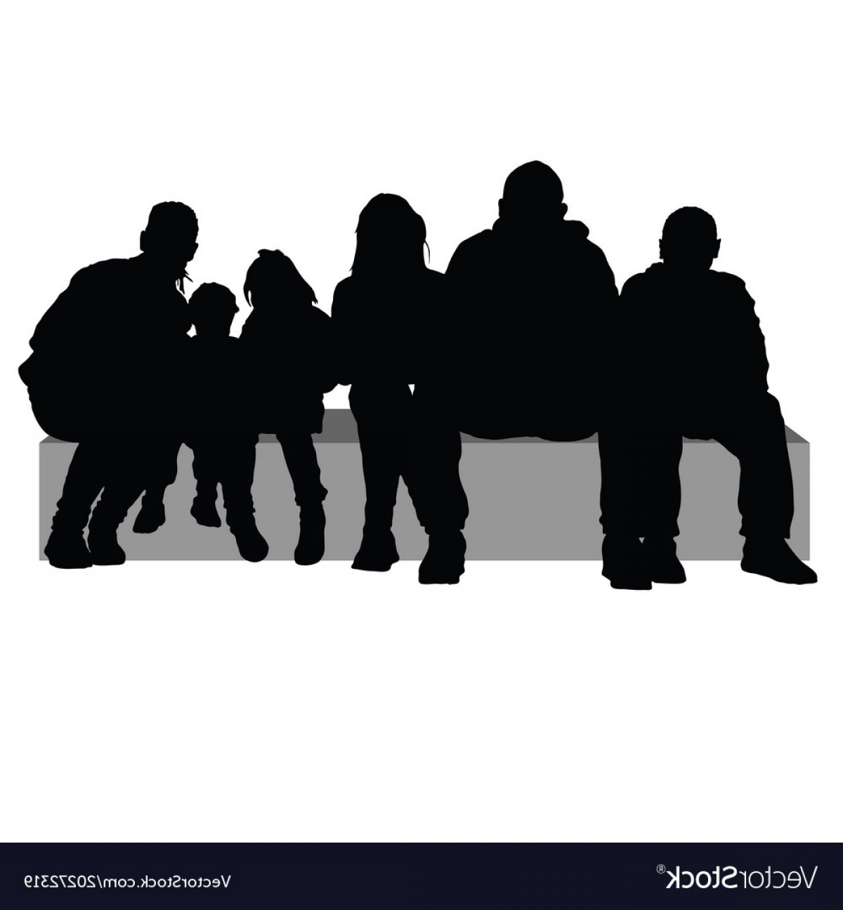 Sillouhette Vector Group: Group Of People Sitting On A Stone Silhouette Vector