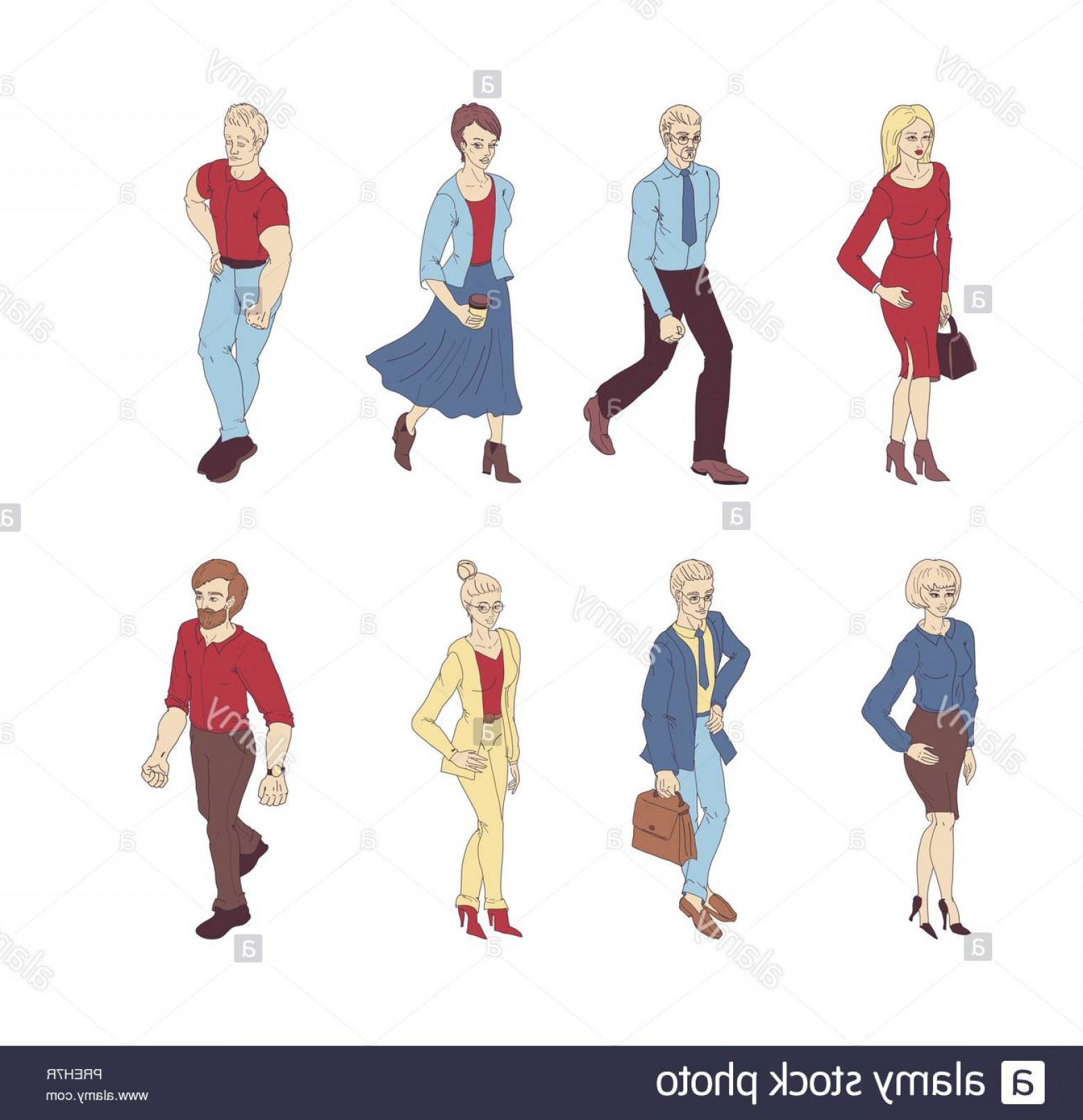 People Standing Vector: Group Of People Standing On White Background Vector Business Men And Women Cartoon Style Characters Image