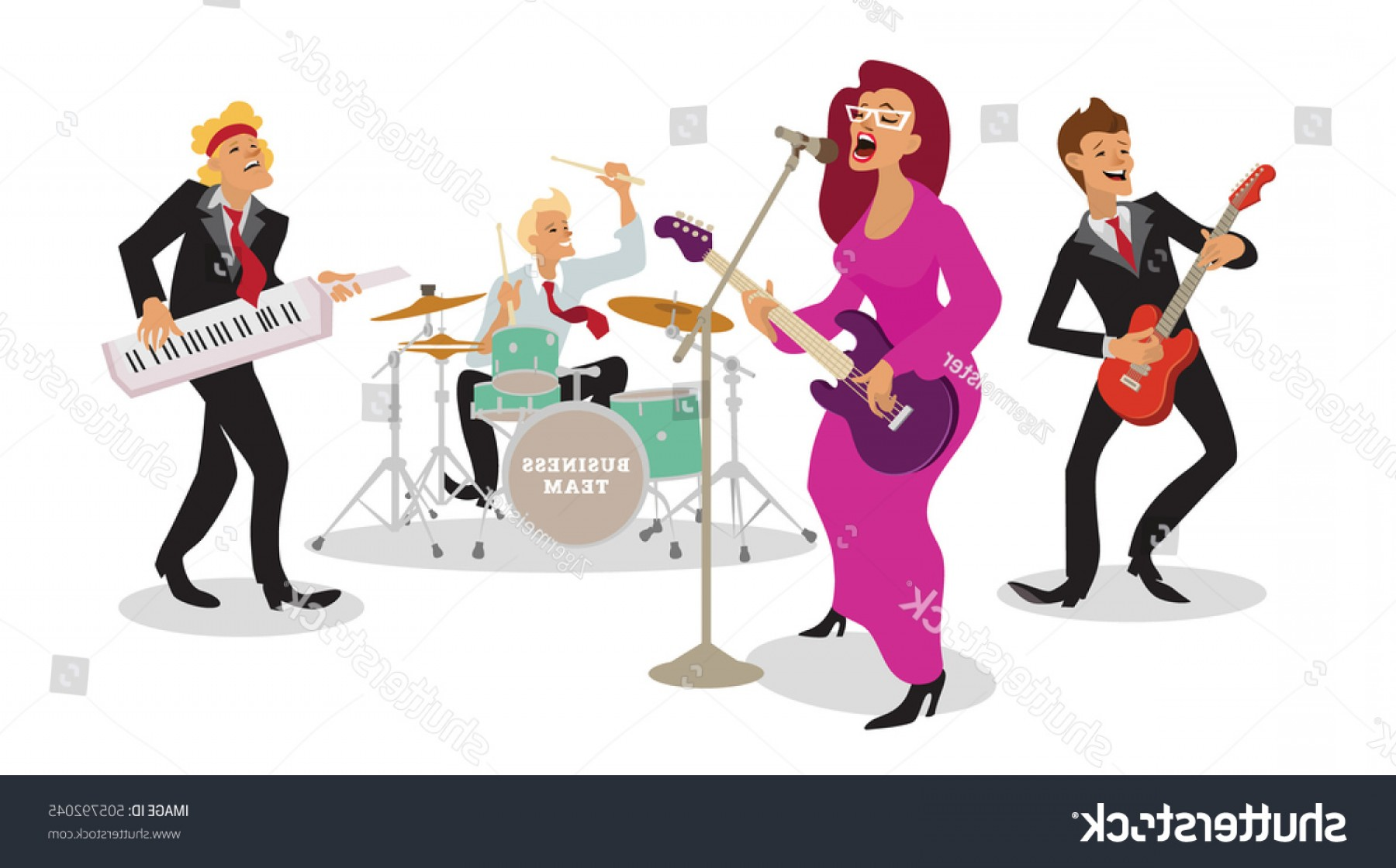 Musician Person Vector: Group People Playing Musical Instruments Corporate