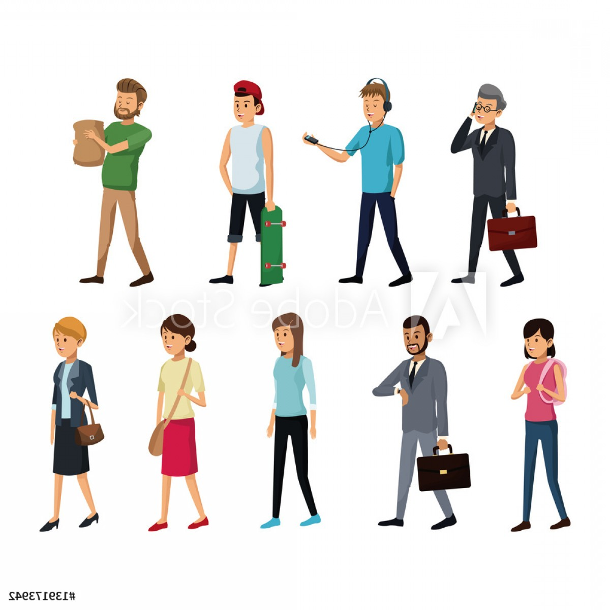 People Standing Vector: Group People Society Standing Vector Illustration Eps F