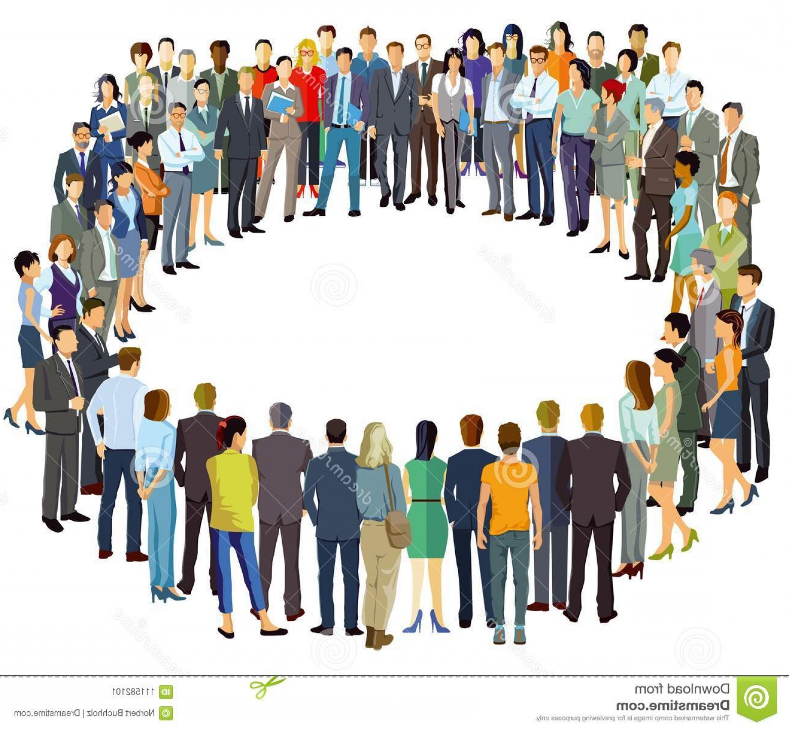 People Standing Vector: Group People Standing Circle Illustration Image