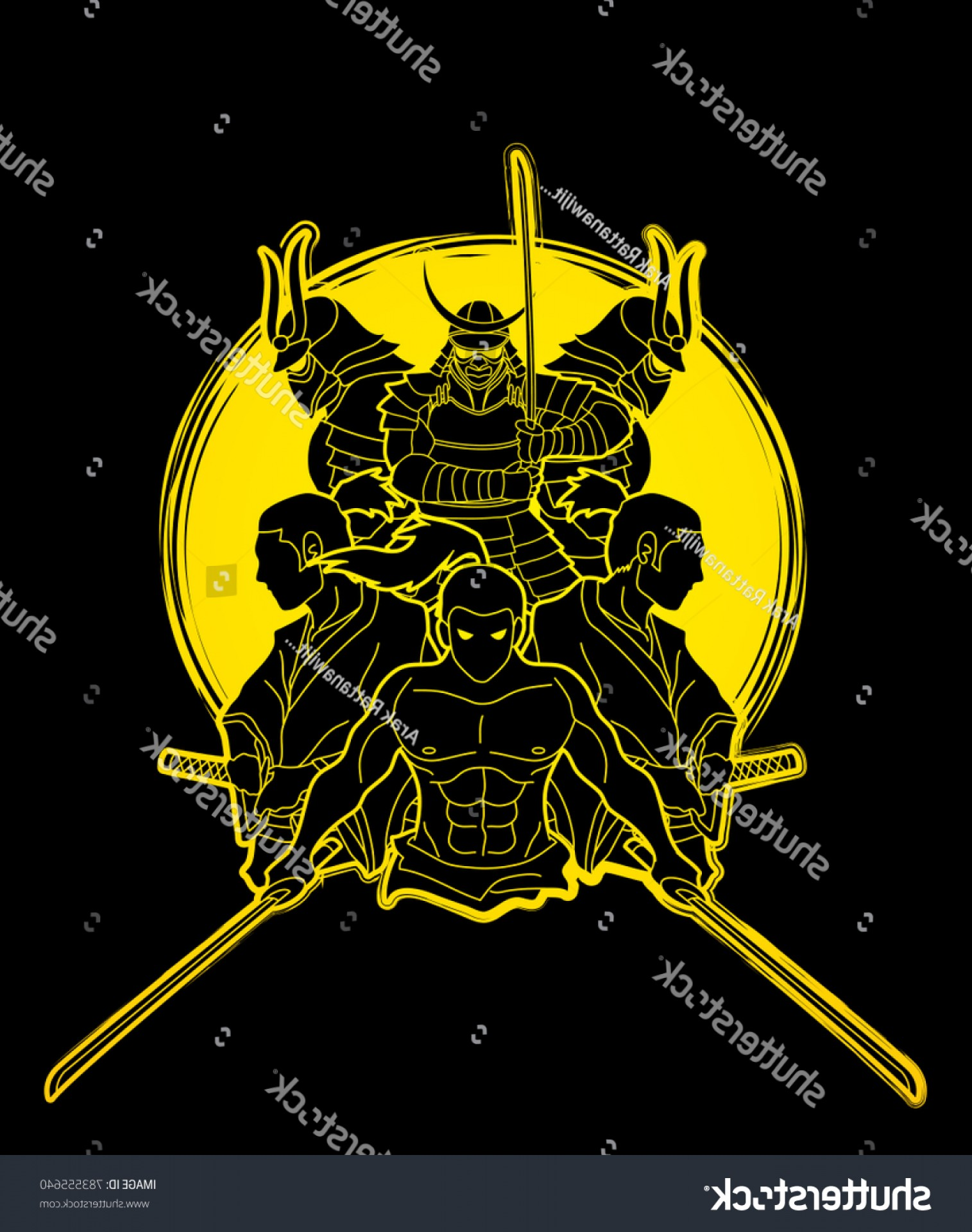 Windows Phone Vector Samurai: Group Samurai Ready Fight Action Designed