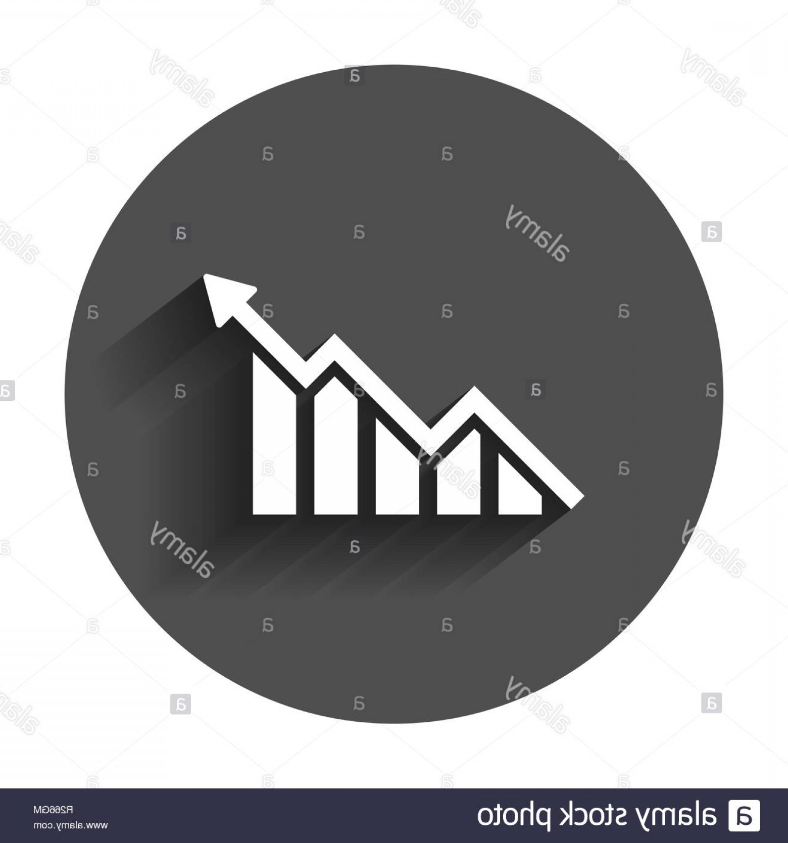 Bar Graph Icon Vector: Growing Bar Graph Icon In Flat Style Increase Arrow Vector Illustration With Long Shadow Infographic Progress Business Concept Image