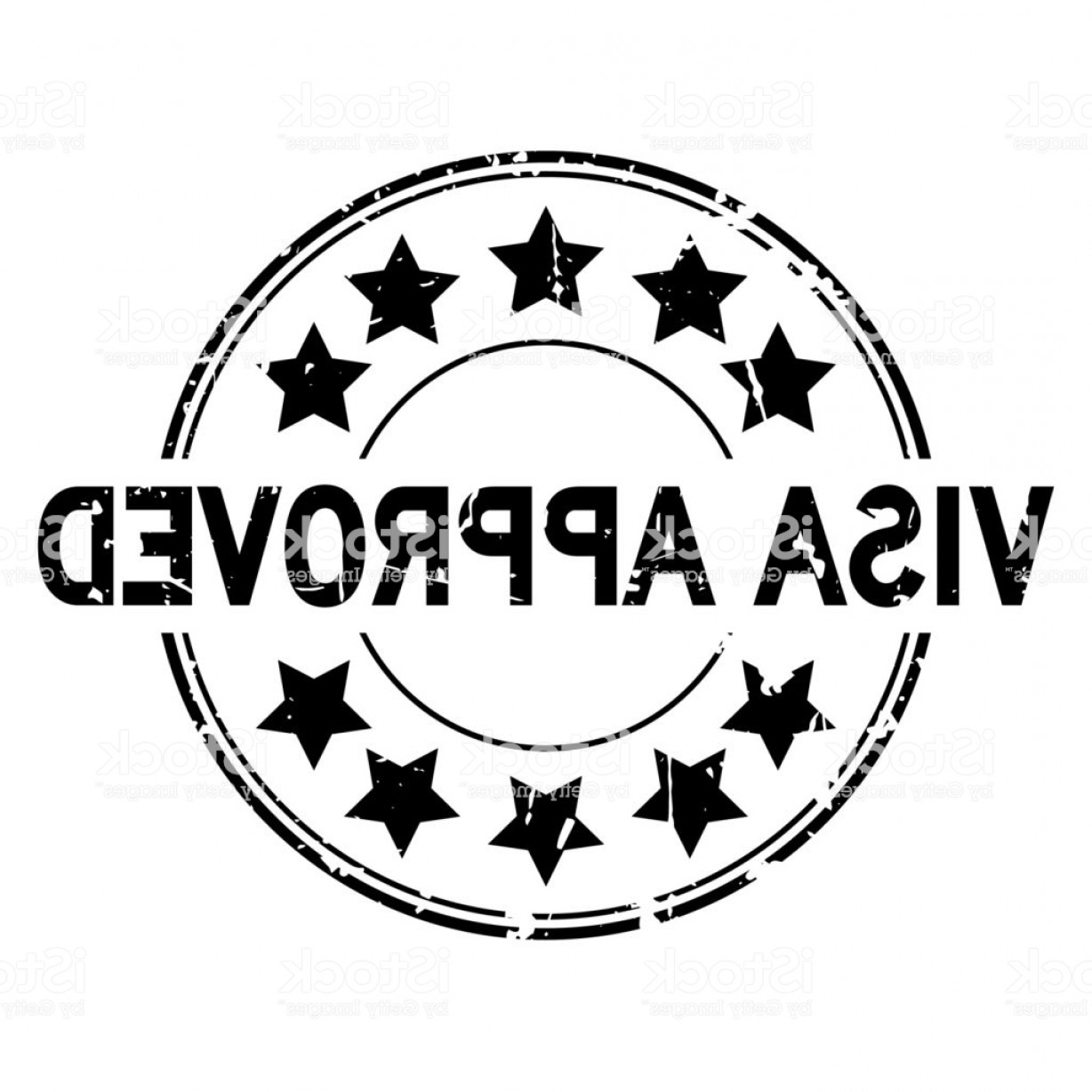 Visa Logo Vector Clip Art: Grunge Black Visa Approved With Star Icon Round Rubber Seal Stamp On White Background Gm