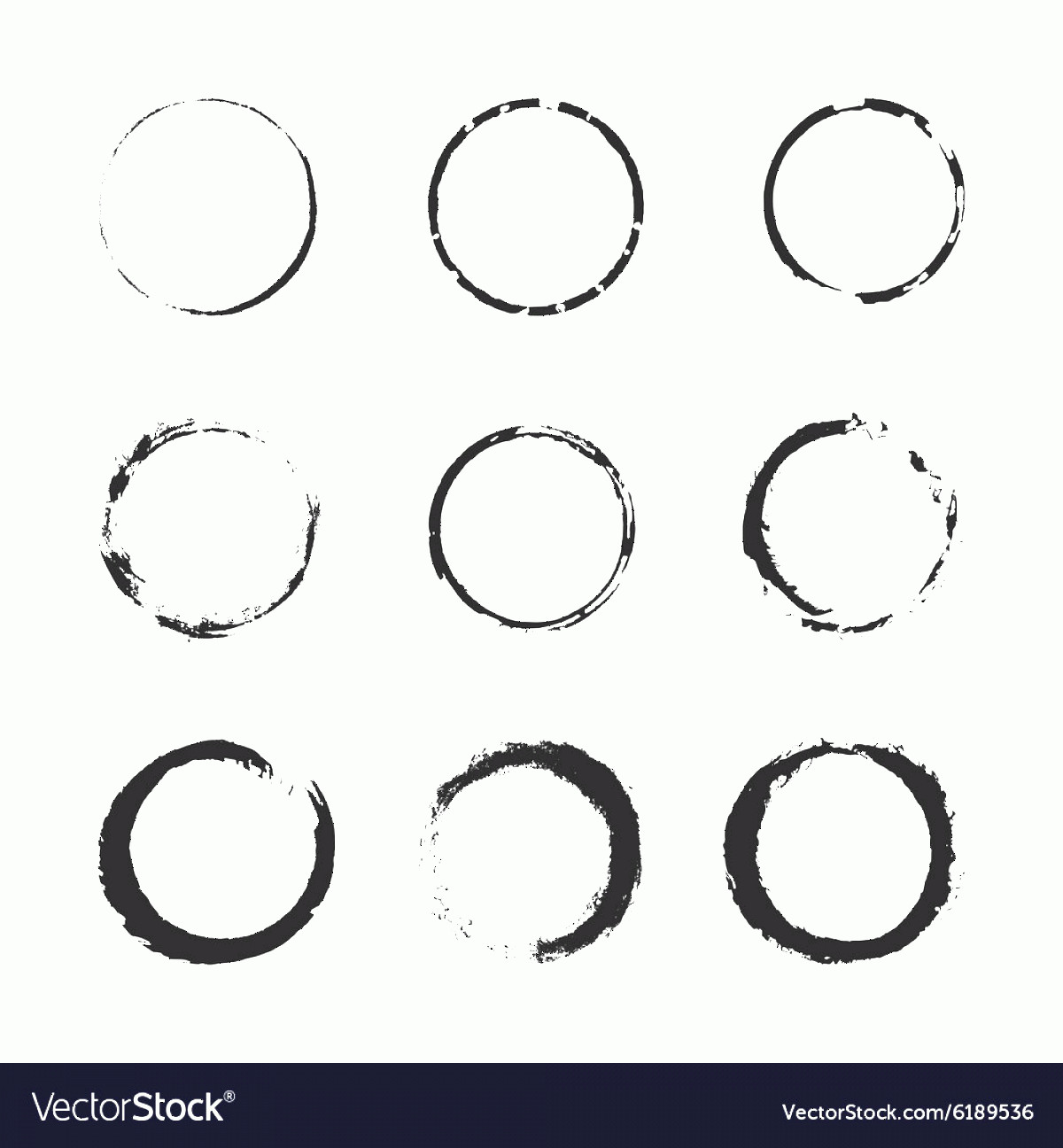 Distressed Border Circle Vector: Grunge Circle Border Set Vector