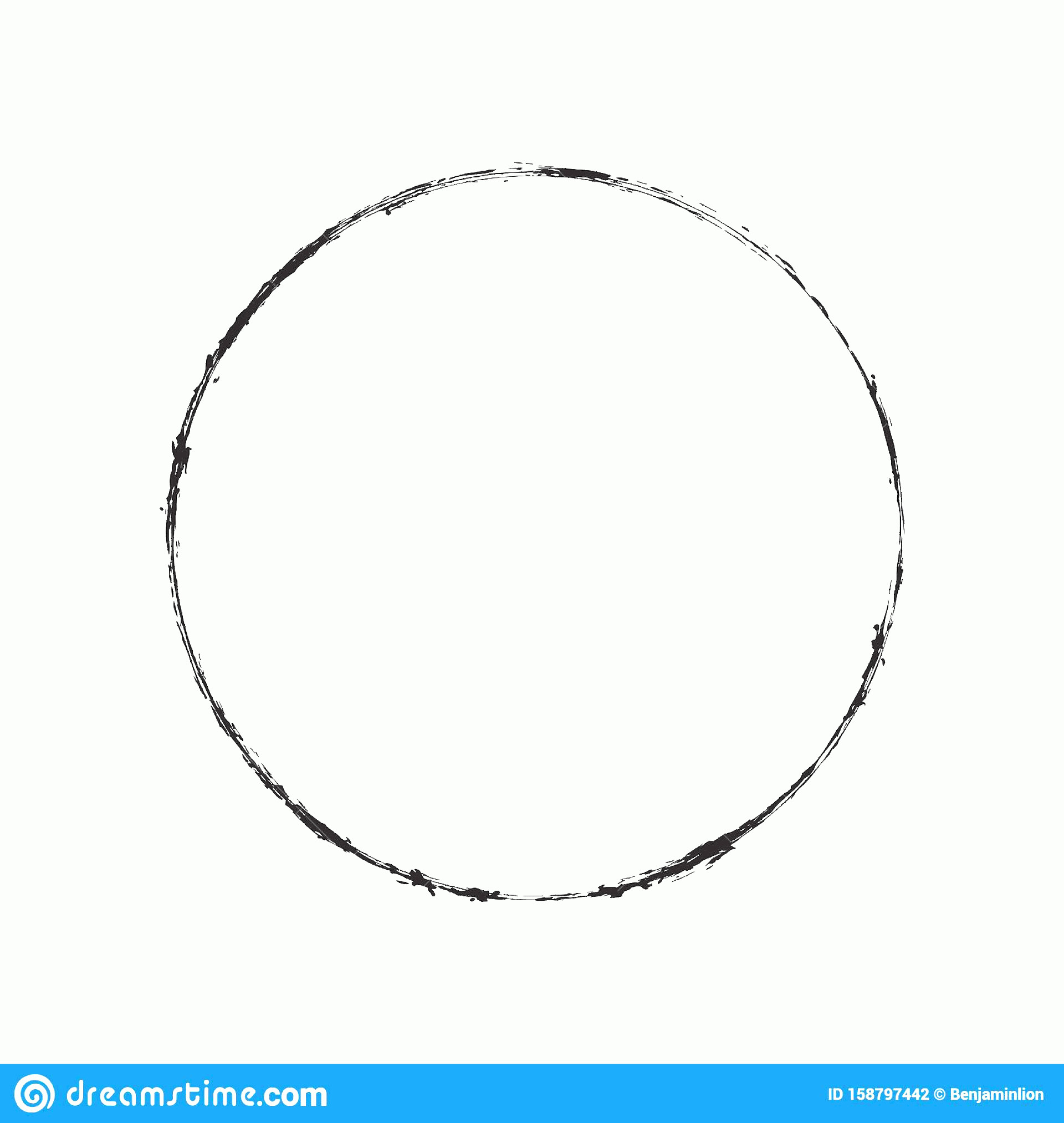 Distressed Border Circle Vector: Grunge Circle Stamp Draft Mockup Distress Overlay Basis Texture Your Design Thin Thorn Scratchy Circular Ring Edge Frame Image