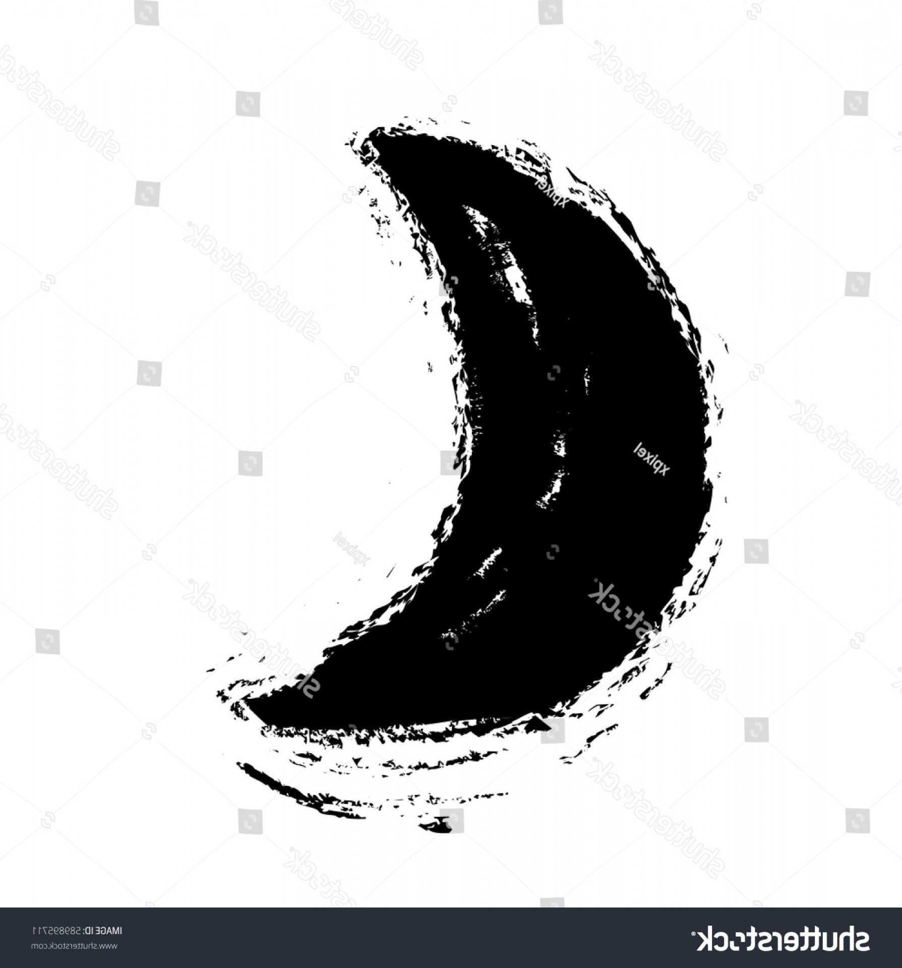 Cresent Moon Vector: Grunge Crescent Moon Vector Icon