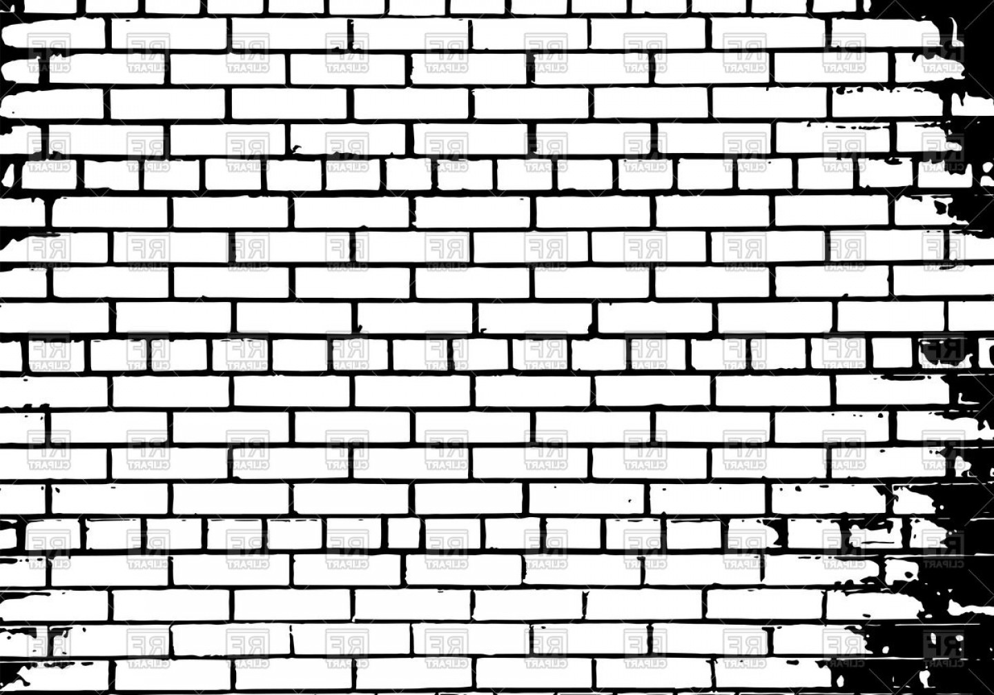 Wall Background Vector: Grunge White And Black Brick Wall Background Vector Clipart
