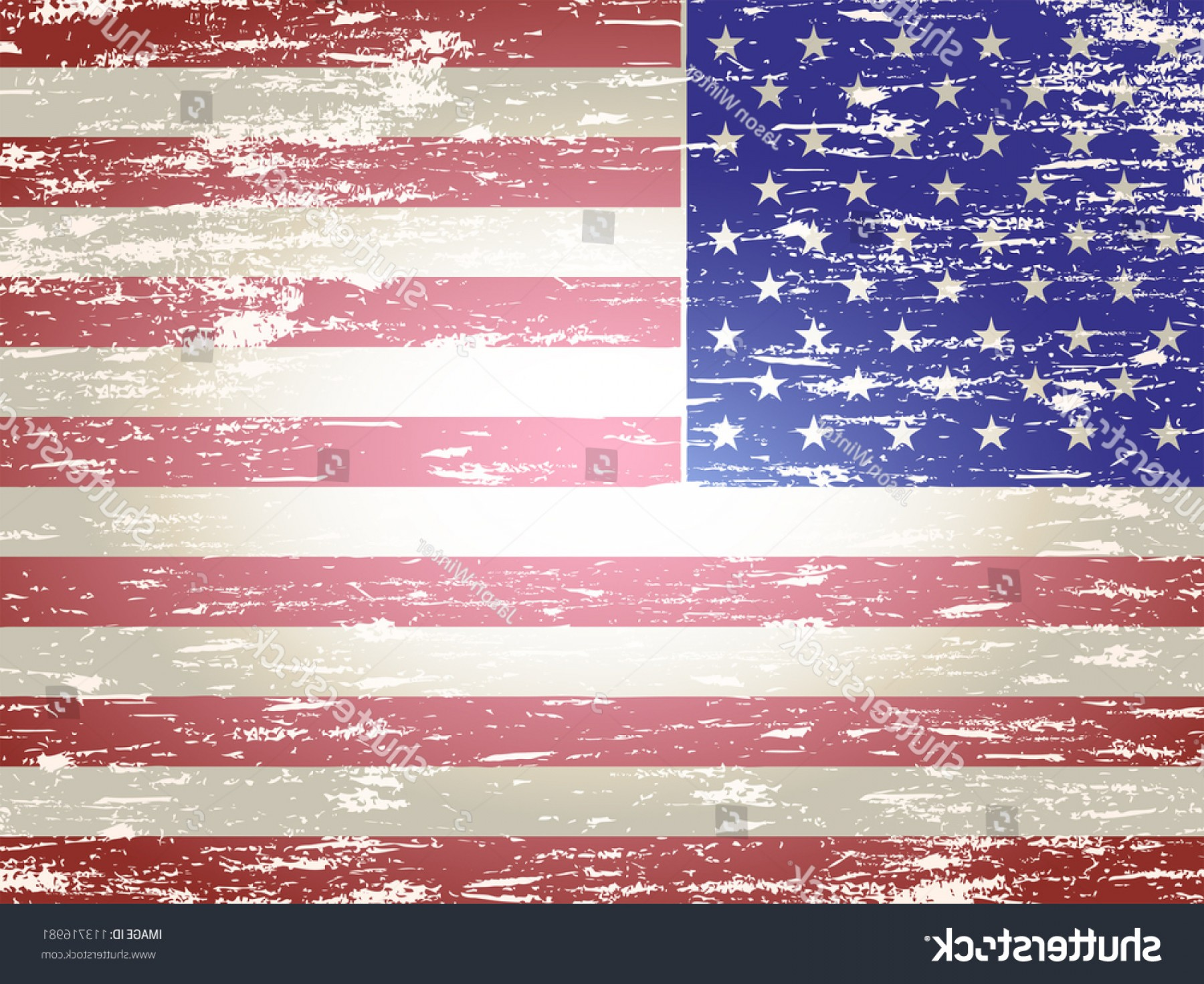 Distressed Flag Vector Digital: Grungy Faded Distressed American Flag Background