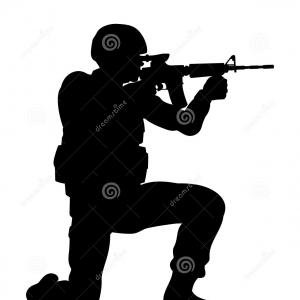 Large Fallen Soldiers Memorial Silhouettes Vector: Grave Soldier Helmet And Gun Instead Of Cross Vector